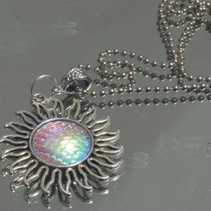 Conceptual Subculture Jewelry - Pink Blue Psychedelic Mermaid Sun Pendant Necklace
